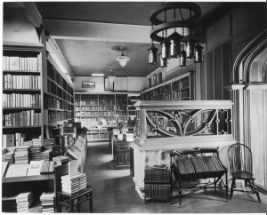 The bargain alcove in the main book room, with another Maybeck chandelier (1906) and screen (1909)