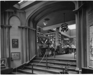 The entrance to the main book room. Note the Maybeck chandelier from the 1906 store.