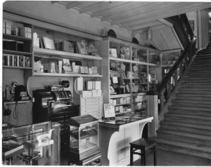 The stationery department, downstairs. Note also the cigars in the glass case at bottom front.