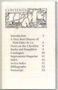 Contents, first edition checklist