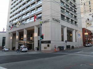 Sutter & Stockton today: the Hyatt Union Square tower.