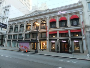 The old Gump's store today. This is where the 238 Post St store was located, which was destroyed in the 1906 earthquake and fire.