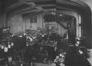 The main book room (two different photos stitched together)