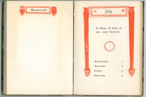 "1903 Calendar for the week of July 1st, with an aphorism by Oliver Herford and an ""O"" monogram"