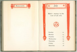 """1903 Calendar for the week of July 12th, with an aphorism by Addison Mizner and his """"AM"""" monogram"""