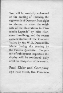 "Invitation to the opening of Florence Lundborg's original artwork for ""Yosemite Legends,"" 18 Oct 1904"