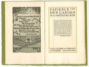 "Title page of ""Patience Her Garden"""
