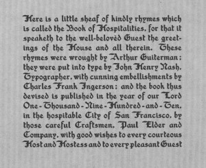 Book of Hospitalities colophon