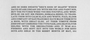 Erics Book of Beasts colophon