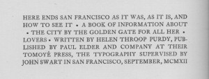 San Francisco Purdy colophon