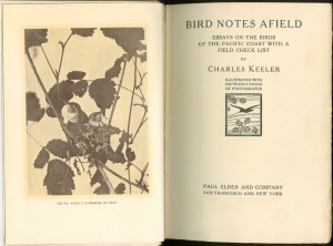 "Frontispiece and title page of the 1907 2nd edition of ""Bird Notes Afield"""