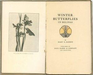"Frontispiece and title page of ""Winter Butterfiles in Bolinas"""