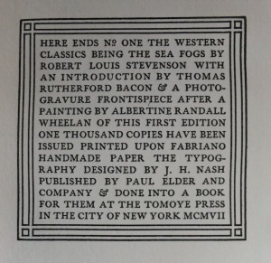 Sea Fogs colophon