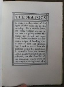 "Page 1 of ""The Sea Fogs,"" set in Caslon 471. Note the mitred rules characteristic of Nash's work."