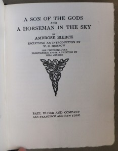 "Title page of ""A Son Of the Gods and A Horseman In the Sky"""