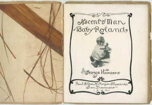 "Title page of ""Ascent of Man"", with unusual tree bark endpapers"