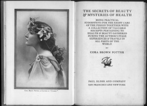 "Frontispiece and title page of ""Secrets of Beauty"""