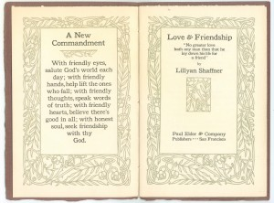 "Frontispiece and title page of ""Love & Friendship"""