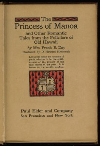 """Title page of """"The Princess of Manoa"""""""
