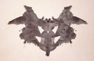 The first of the ten cards in the Rorschach test