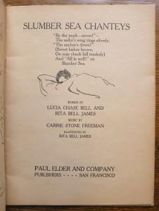 "Title page of ""Slumber Sea Chanteys"""