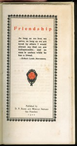 """Title page of the 1901 Elder & Shepard edition of """"Friendship"""""""