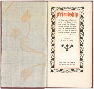 "Title page of a 1904 reissue of ""Friendship"""