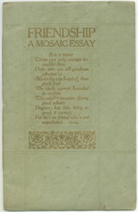 """Cover of the 1910 edition of """"Friendship"""""""