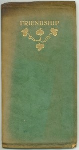"""Variant cover of """"Friendship,"""" gold-stamped leather"""