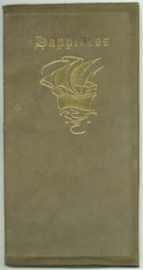"Edition B cover of ""Happiness"" in gold-stamped leather"