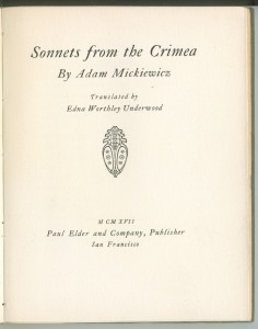 "Title page of ""Sonnets of Crimea"""