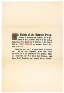 "Notice of the Berkeley performance of ""Knight of the Burning Pestle"" in March 1903"