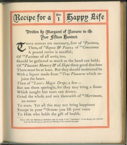 "Page 1 of ""Recipe For a Happy Life,"" the only part of the book actually written by Margaret"