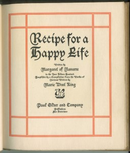 "Title page of ""Recipe For a Happy Life"""