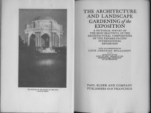 "Title page & frontispiece of ""Architecture and Landscape Gardening of the Exposition"""