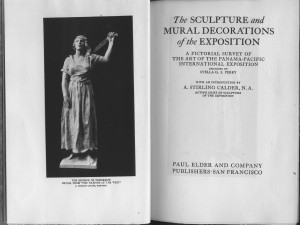 "Title page & frontispiece of ""Sculpture and Mural Decorations of the Exposition"""