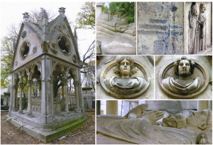 Images of Abelard and Heloise's tomb at Pere Lachaise Cemetery in Paris.