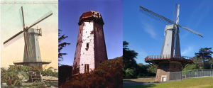 The Murphy Windmill: (left) shortly after construction in 1909, (center) derelict in 1999, (right) restored in 2014. Photo at right by Allie Caulfield.