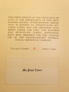 Limitation page (in volume one), along with Paul Elder's card. This was Elder's own copy of the Catalog.