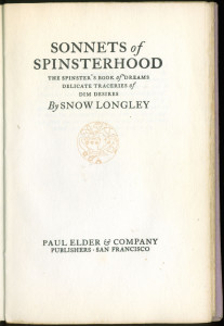 "Title page of ""Sonnets of Spinsterhood"""