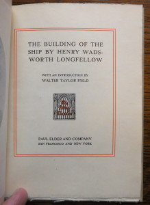 "Title page of ""The Building of the Ship"""