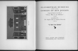 """Title page and frontispiece of """"Elizabethan Humours"""""""