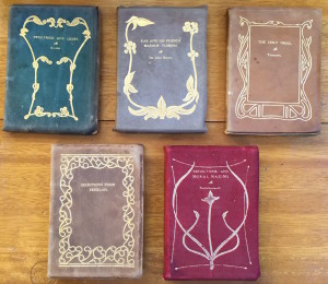 The five known cover designs and three known colors for the Impression Classics series