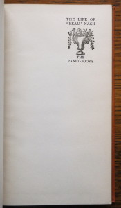 """Half-title page of """"The Life of 'Beau' Nash"""""""