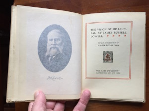 "Title page and frontispiece of ""The Vision of Sir Launfal"""