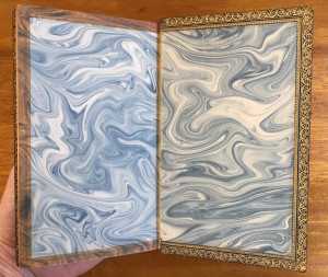 "Fancy endpapers of the ""full Levant morocco"" binding of ""Cranford"""