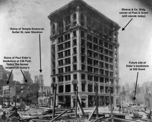 Burned out shell of the Shreve Building at Post & Grant, shortly after the 1906 earthquake and fire (the building was restored and still stands). Ruins of Elder's bookstore at far left.