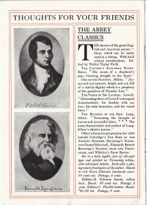 "Advertisement for ""The Abbey Classics"" in Elder's 1907 catalog ""Thoughts For Friends"""