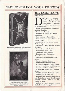 "Advertisement for ""The Panel Books"" from Elder's 1907 catalog ""Thoughts For Friends"""